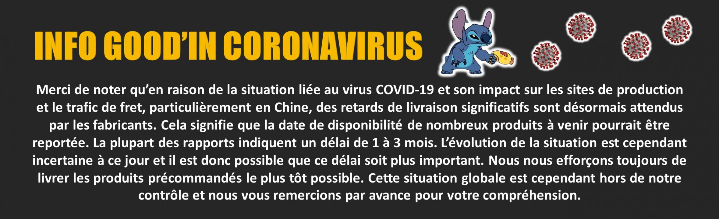 Flash info coronavirus Goodin shop
