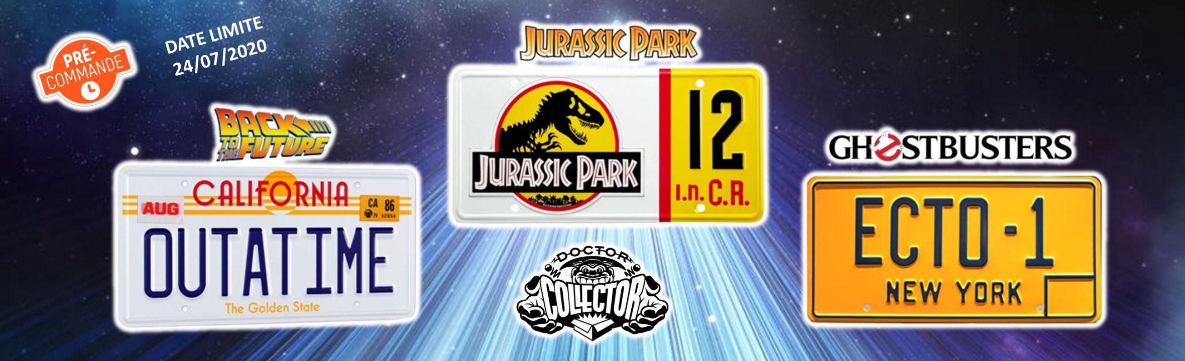 plaques acier officielles Doctor collector Retour vers le futur jurassic park ghostbusters