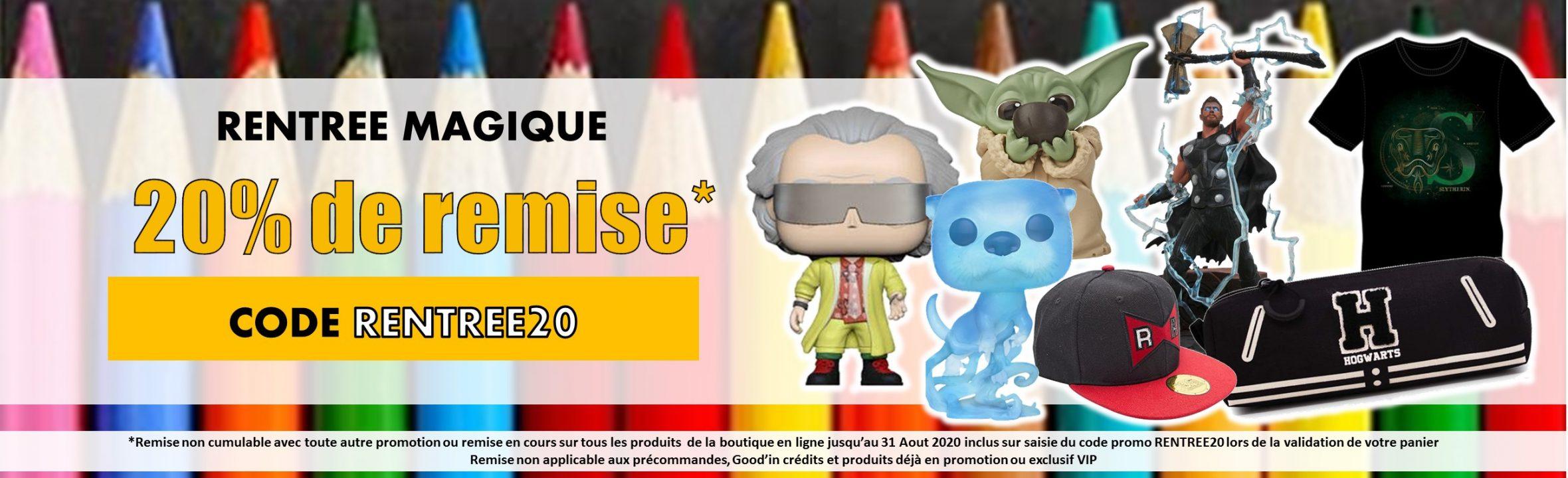 promotion rentrée 20% de remise funko pop goodies figurines goodin shop