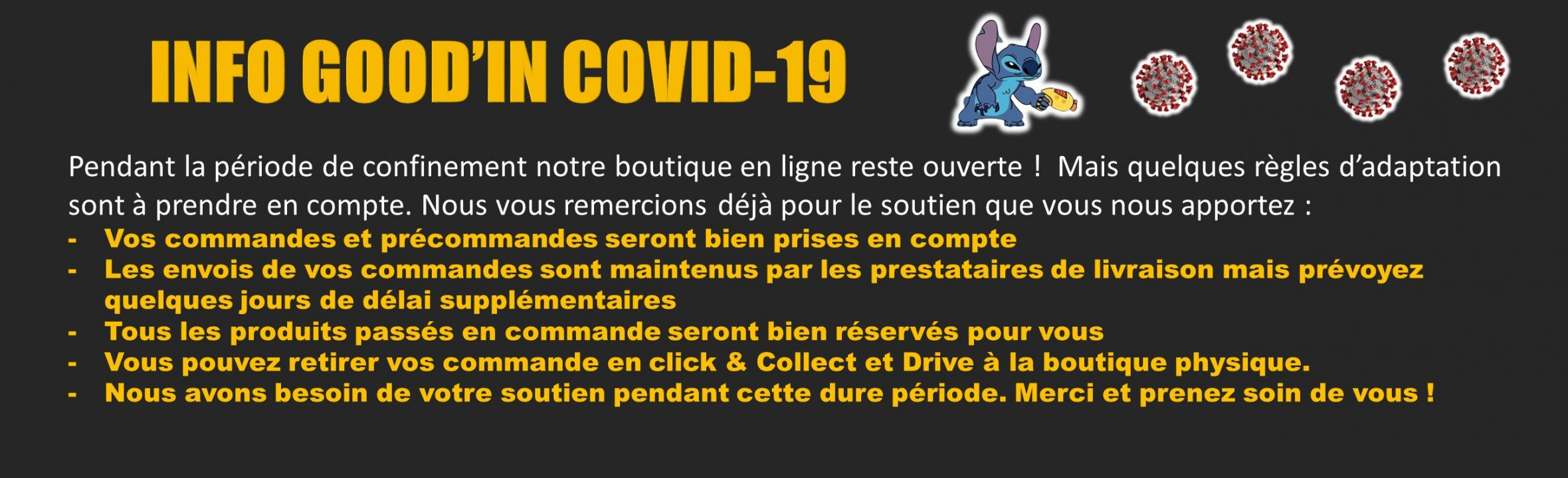 informations confinement Covid19 goodin shop